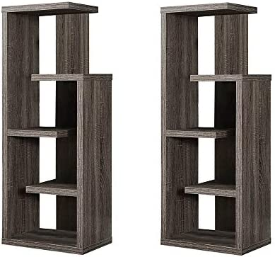 Monarch 48 5 Tier Shelved Dark Taupe Accent Open Concept Display Unit Bookcase 2 Pack