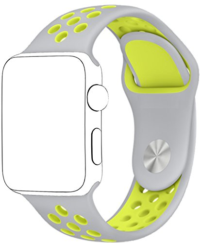 SELLERS360 Soft Durable Nike + Sport Replacement Wrist Strap for iWatch Series 1 Series 2 Apple watch band (Silver/Volt Yellow 42mm M/L)