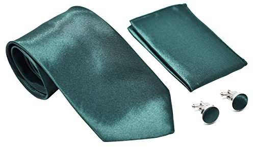 Kingsquare Solid Color Men's Tie, Pocket Square, and Cufflinks matching set (Emerald Green) ()