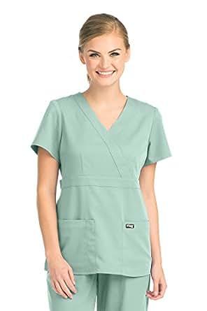 Grey's Anatomy 4153 Women's Mock Wrap Top Aqua Mist XXS