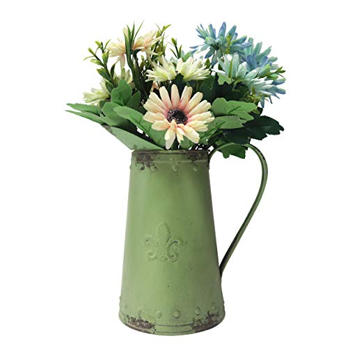 MISIXILE Rustic Country Metal Shabby Chic Vase,Galvanized Jug Flower Pitcher for Home Decor-8.0
