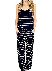 Amiery Womens Blue Jumpsuits Summer Comfy Striped One Piece Jumpsuits Casual Wide Leg Long Pants Loose Sleeveless Jumpsuits Rompers Xl Navy Blue Stripes