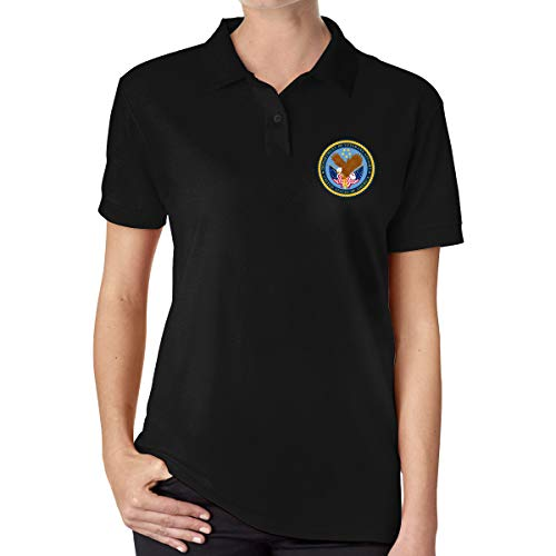 Seal of The United States Department of Veterans Affairs Women's Classic Polo Shirt Short Sleeve Golf Shirts Black