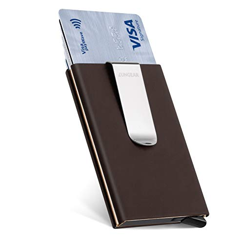 - LunGear Credit Card Holder with Money Clip Slim Front Pocket Card Protector Minimalist Carbon Fiber Holder for Man Pop Up Design Up to Hold 7 cards(Brown)