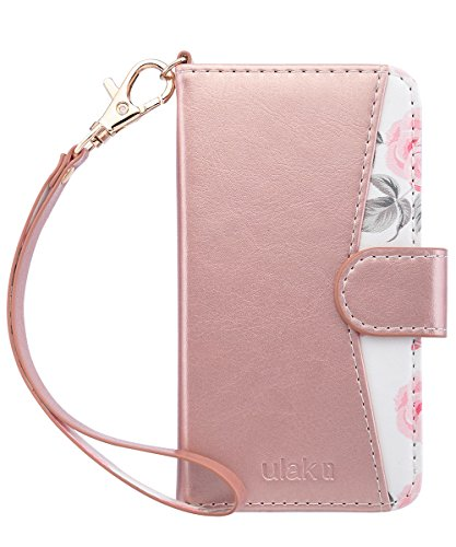 iPhone 6s Case ,iPhone 6 Case,ULAK iPhone 6S Wallet Case With Card Holder and Kickstand Shockproof PU Leather Cover with Hand Strap for Apple iPhone 6s/6 4.7, Rose Gold Flower