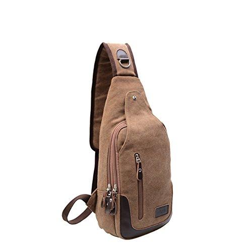 Bolsa del pecho de los hombres,solo hombro /bandolera/ocio/bolso de la lona,deportes al aire libre/bolsa de viaje-negro Kaki