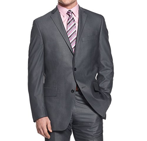Alfani Red Slim Fit Grey & Blue Ministriped Two Button New Men's Suit (40L 34W x 32L) by Alfani