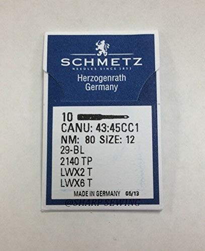 10 SCHMETZ 29-49 LWX6T Size#12 Curved BLINDSTITCH Needles(10 NDLS PER Pack) by Sewing Parts