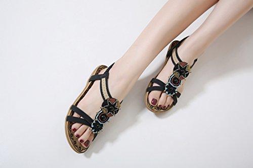 For Summer Ladies Bohemian Shoes Beaded Ruiren Nero Flat Women Sandals InBTx0P