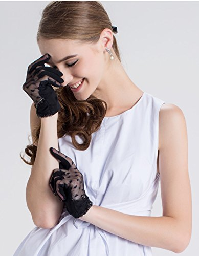 Women's Lace Floral Elegant Gloves for Driving/Party/Evening With''Love'' pattern by LAI MENG FIVE CATS (Image #1)