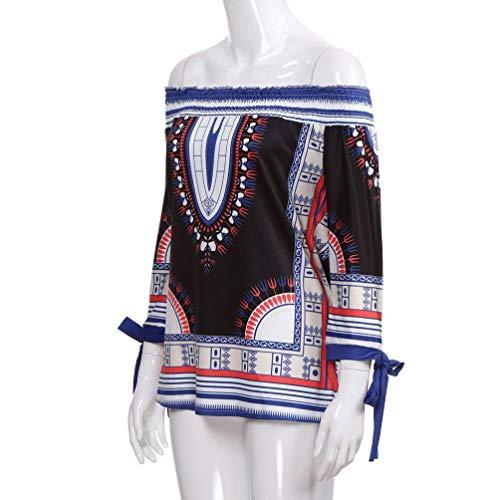 Floral de dobladas Shirt otoño de Vestido Vestido Mujer Calle Dress Vintage Blusas Azul Camisetas y Camisa Sonnena de Traje 3 Floral Irregulares Playa Impresión Larga Estampado Manga StwwYqd