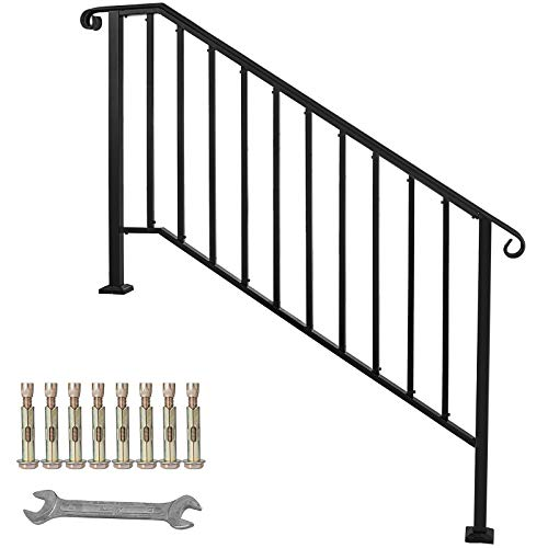 Happybuy Handrail Picket #4 Fits 4 or 5 Steps Matte Black Stair Rail Stainless Steel Wrought Iron Handrail with Installation Kit Hand Rails for Outdoor Steps