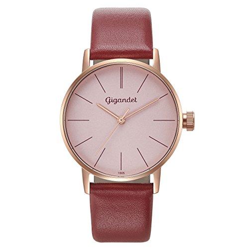 Gigandet Women's Quartz Watch Minimalism Analog Leather Strap Rose Gold Red G43-016