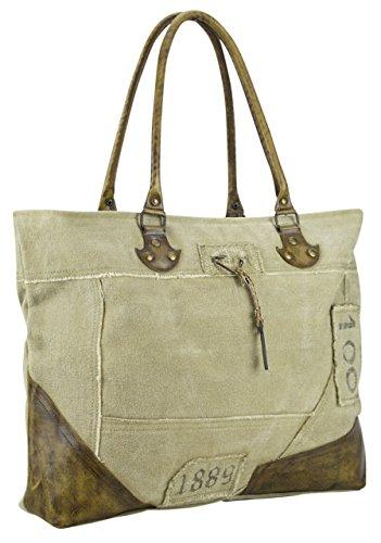 6d3ec8e9c395a ... Sunsa Damen Vintage Tasche Shopper Schultertasche Handtasche aus Canvas   Segeltuch  Leder 50x36x11 cm ...