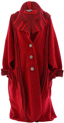 Charleselie94? - Manteau Long Hiver Laine Bouillie Grande Taille Femme Rouge Karla Rouge Rouge