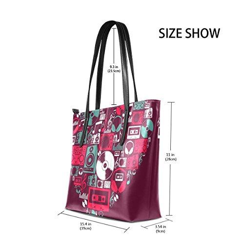 COOSUN Dj Music Icons Liebe Herz PU Leder Schultertasche Handtasche und Handtaschen Tasche für Frauen