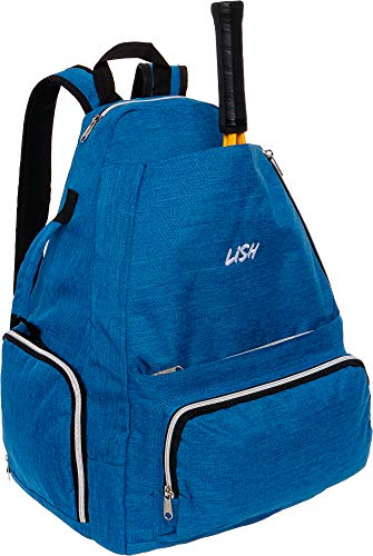 LISH Game Point Tennis Backpack w/Shoe Compartment – Racket Holder Equipment Bag for Tennis, Racquetball, Squash (Blue)