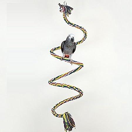 TickTocking coloré Rotation Corde en Coton Oiseau Perchoir Jouet à mâcher pour Perroquet Africain Greys Ara Éclectus cacatoès Alexandrine Amazon Cage balançoire avec clochettes CN