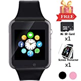 Smart Watch for Android Phones, Bluetooth Smartwatch with SD SIM Card Slot Watch Phone Call Message Camera Pedometer Compatible with iOS (Partial Functions) Sweatproof for Kids Women Men