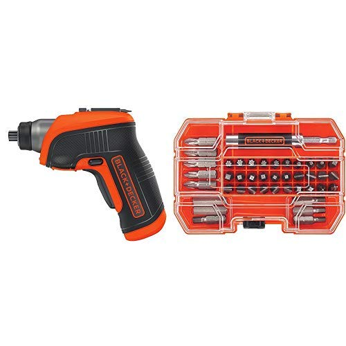 BLACK+DECKER BDCS30C 4-Volt MAX Lithium-Ion Cordless Rechargeable LED Screwdriver with BLACK+DECKER BDA42SD 42-Piece Standard Screwdriver Bit Set