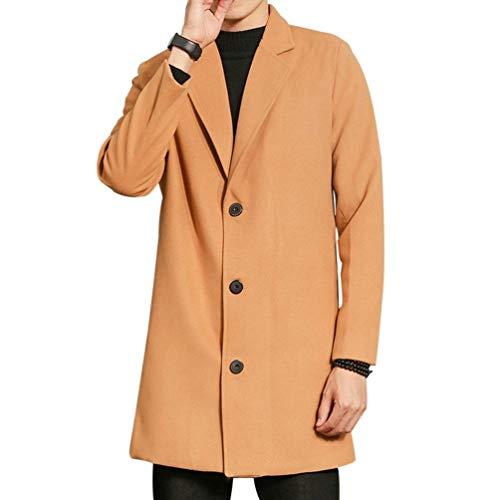 Los Hombres De Los Hombres Regular Fit Cierre Ropa De Cremallera Front Stand Collar Los Hombres De Largo Ntel Moda Leisure Coat De Los Hombres (Color : Khaki, Size : 3XL)