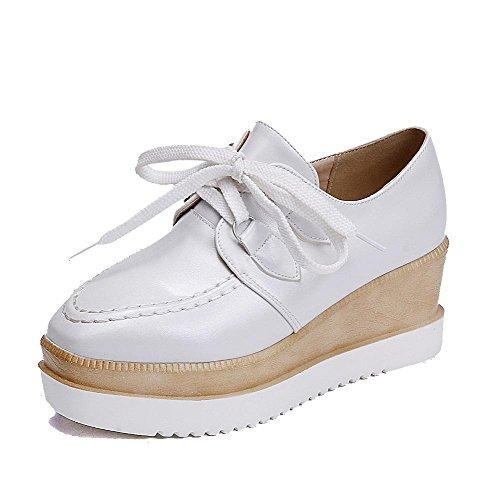 Damen Schnüren Rund Zehe Mittler Absatz Rein Pumps Schuhe, Weiß, 41 AllhqFashion