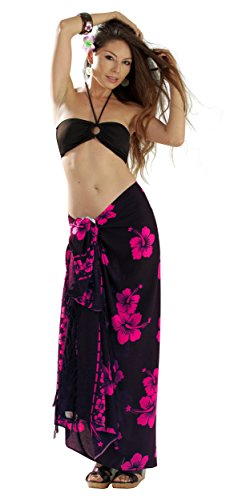 1 World Sarongs Womens Hibiscus Flower Swimsuit Cover-Up Sarong in Pink/Black