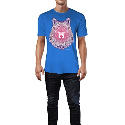 SINUS ART ® Fliederfarbener Fuchskopf mit Ornamenten Herren T-Shirts in Blau Fun Shirt mit tollen Aufdruck
