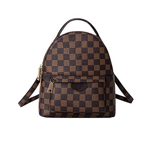 Herossy Fashion Leather Chechered Small Backpack for Women, Designer Mini Backpacks Purse Shoulder bag Handbag
