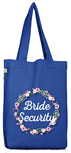 ShirtStreet Braut Security Junggesellinnenabschied JGA Bio Baumwoll Jutebeutel Stoffbeutel Blumenkranz Bride Security Bright Blue