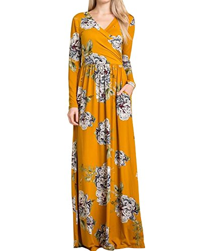 Women's Maxi Mustard Waist Ashuai Print Empire V Sleeve Neck Long Floral Dress 7qxgwF