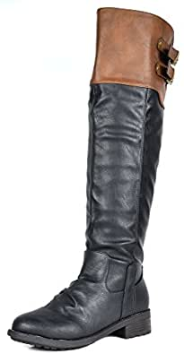 DREAM PAIRS Women's Supra Black Camel Over The Knee Motorcycle Riding Boots Size 5 M US