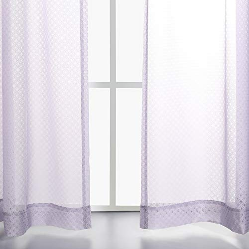 MYSKY HOME Premium Gradient Print Burnout Sheer Curtains Rod Pocket Geometric Star Tile Drapes for Girls Room, Purple, 50