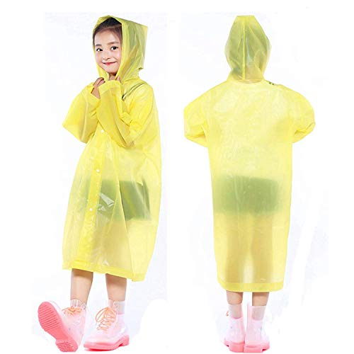 PERTTY 2 Pcs Kids Rain Ponchos Reusable Raincoats Portable Rain Wear with Hat Hood Unisex for 6-12 Years Old Children (Yellow)
