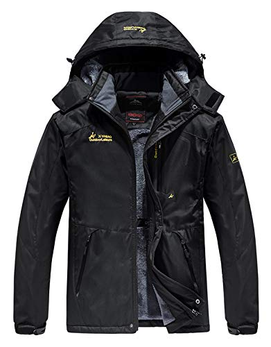 HOW'ON Men's Waterproof Ski Jackets Winter Windproof Hooded Mountain Fleece Outwear