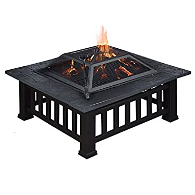 TMS® 32  Outdoor Metal Firepit Backyard Patio Garden Square Stove Fire Pit W/Cover