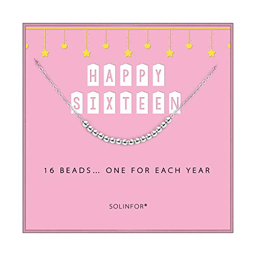 SOLINFOR 16th Birthday Gifts for Girls - 925 Sterling Silver Necklace - 16 Beads for 16 Year Old Girl - Jewelry Gift Idea for Her (Best Gift For 16 Year Girl)