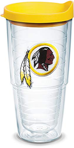 Tervis 1039117 NFL Washington Redskins Primary Logo Tumbler with Emblem and Yellow Lid 24oz, Clear