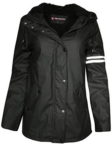 Urban Republic Ladies Hooded Vinyl Rain Jacket with Fur Lining (Black with Taping, Medium)'