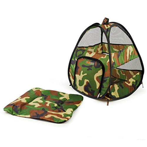Playpens Houses & Habitats Pet Cat Camouflage Tent Closed Breathable Backpack Tent Portable Cat Litter Collapsible Indoor Kennel Multi-Purpose Pet Travel Tent (Color : Green, Size : 343850cm)