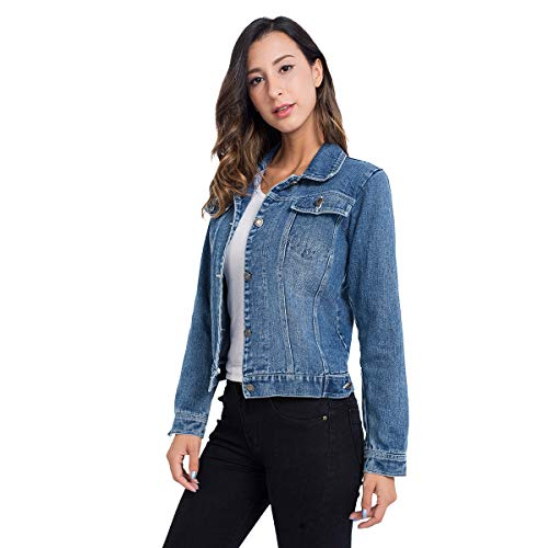 Jean Jackets for Women, Button up Classic Casual Long Sleeve Juniors Fitted Denim Jacket Light Blue L