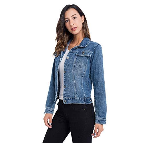 (Denim Jacket for Women, Classic Stretch Long Sleeve Active Jean Jackets Light Blue S)