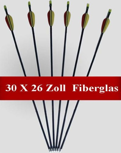 Hobby + Sports 30 Arrows Length: 26 Inches Made From Fiberglass For Compound + Recurve Bows Archery