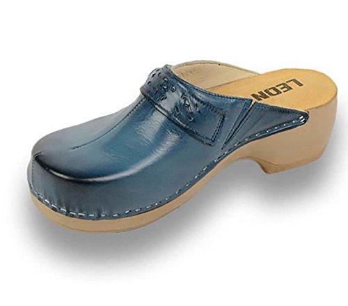 Mules Leon En Chaussons Cuir Dames Pu154 Femme Bleu Chaussures Sabots 4RFqBng