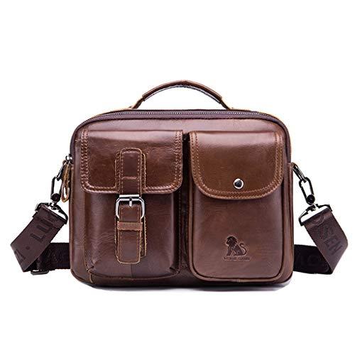 MXueei män axel diagonal väska, läder affärer portfölj, vintage fyrkantig 30 cm bärbar dator axelväska handväska