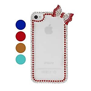 NEW Bow Chain Frame with Rhinestone Pattern Plastic Hard Case for iPhone 4/4S , Golden
