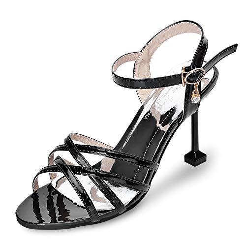 KCatsy Open Toe Criss-Cross Ankle Strap Stiletto Heel Sandals Women Gladiator Shoes Black (Womens Sandals Bongo)