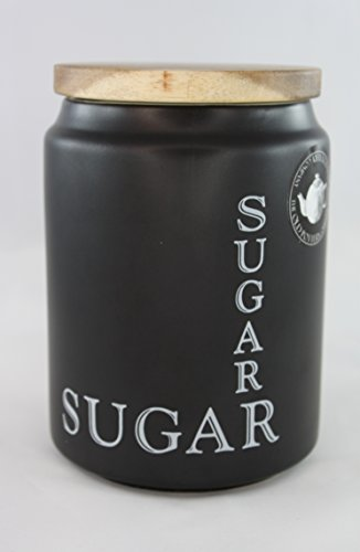 (The Old Pottery Company Ceramic Canister Sugar With Wood Lid - Black)