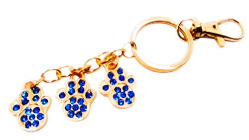 Paw Print Sparkling Rhinestone Key-Chain for Purse or Handbag or Cell Phone Pendant/Charm (5L x 1W, Blue Gold)