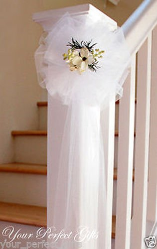 your_perfect_gifts 9'' WHITE TULLE NET WEDDING PEW BOWS BRIDAL DECOARTION by your_perfect_gifts